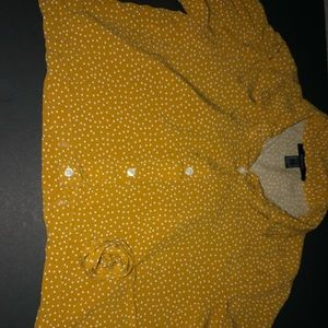 Forever21 yellow shirt with white dots, crop top